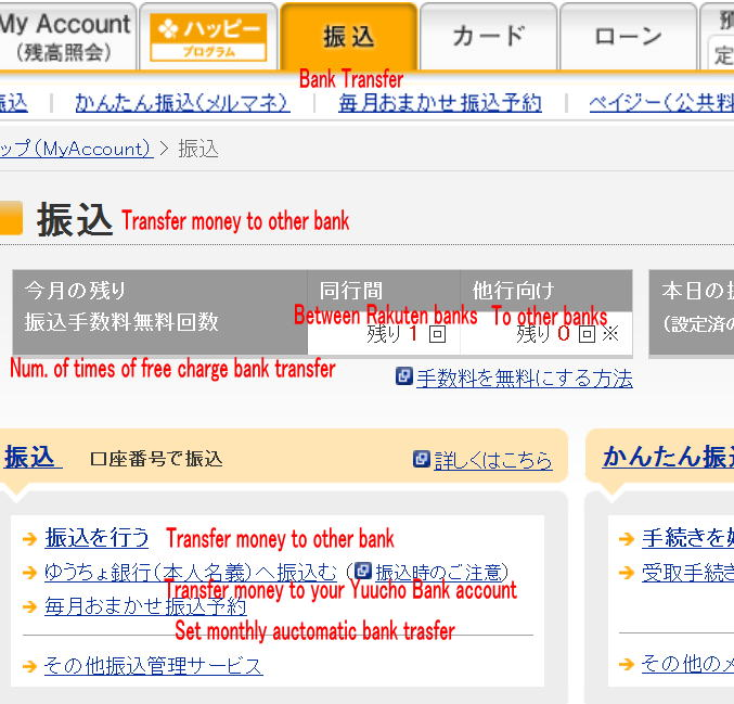 Rakuten Bank transfer in English support